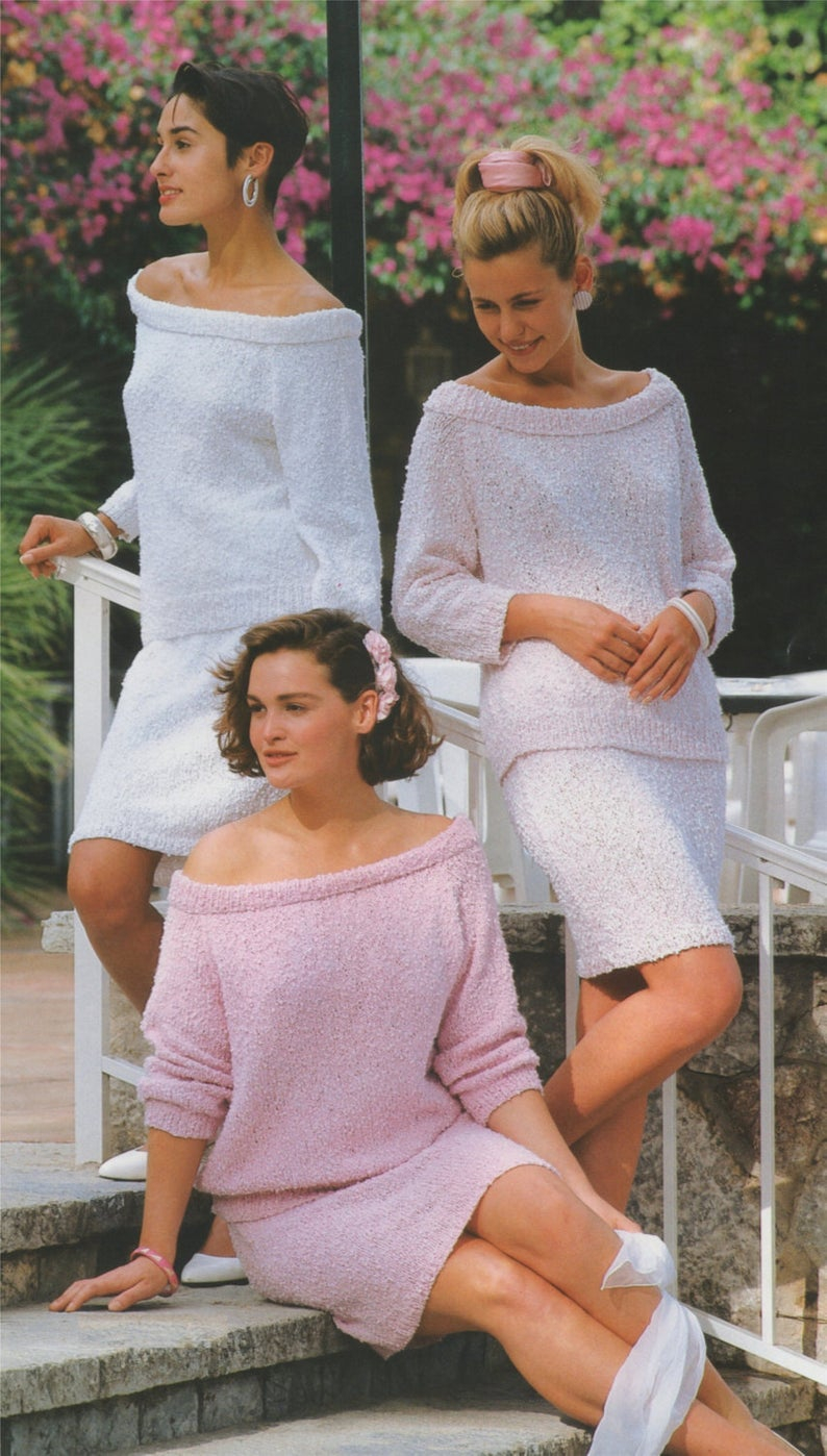 Off The Shoulder Sweater Knitting Pattern Womens Off The Shoulder Sweater And Skirt Knitting Pattern Pdf Ladies 30 32 34 36 38 And 40 Inch Bust Jumper Suit E Pattern Download