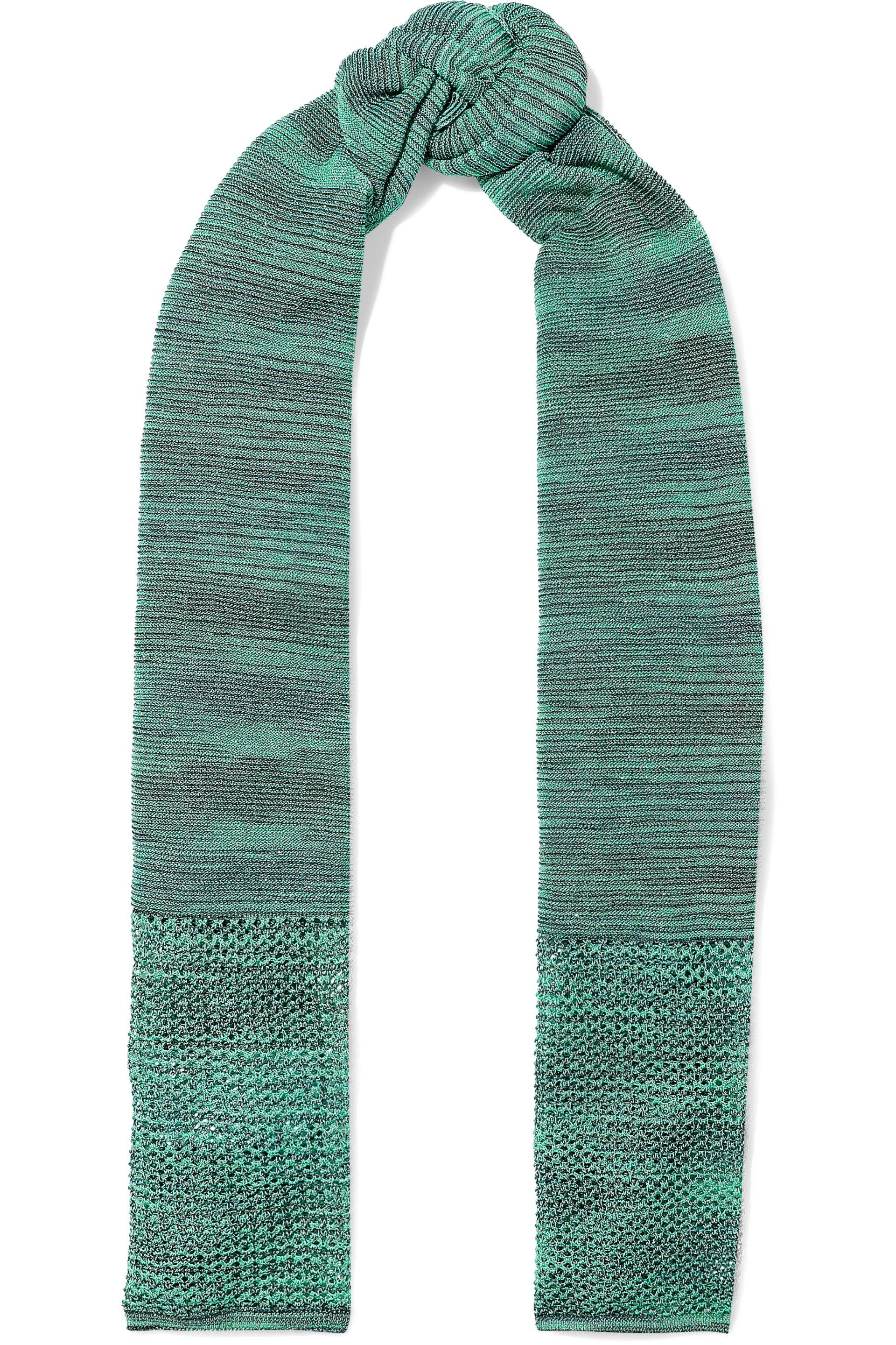 Open Knit Scarf Pattern Lyst M Missoni Woman Open And Crochet Knit Scarf Jade In Green