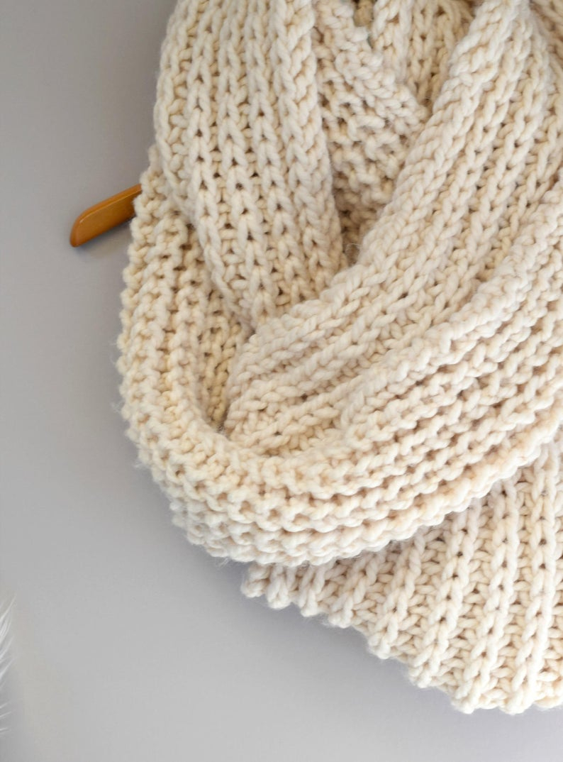 Pattern Knit Big Knit Scarf Oversized Knit Scarf Pattern Easy Knit Scarf Pattern Knitting Pattern Cream Colored Scarf Infinity Scarf White Scarf