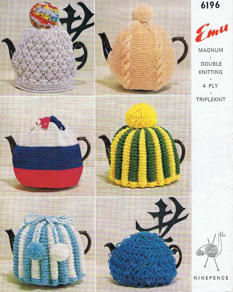 Patterns For Knitted Tea Cosies 1960s Retro Tea Cosy Pattern 6 Knitting Patterns Tea Cozy Pdf Six Patterns T153 Vintage