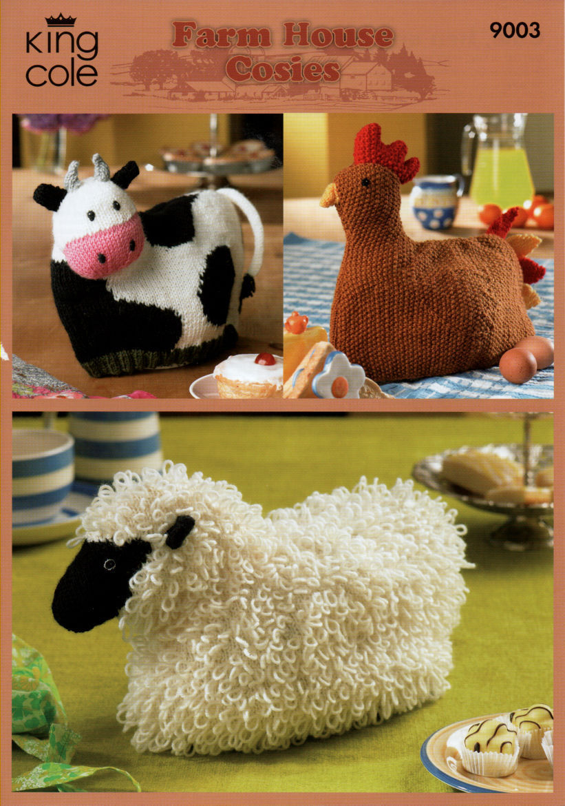 Patterns For Knitted Tea Cosies 9003 King Cole Farm House Cow Hen Sheep Tea Cosy Cosies Knitting Pattern