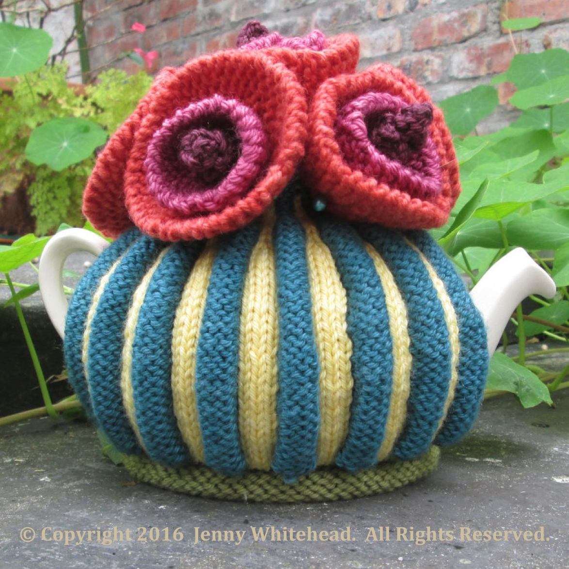 Patterns For Knitted Tea Cosies Flower Power Tea Cosy Jenny Whitehead