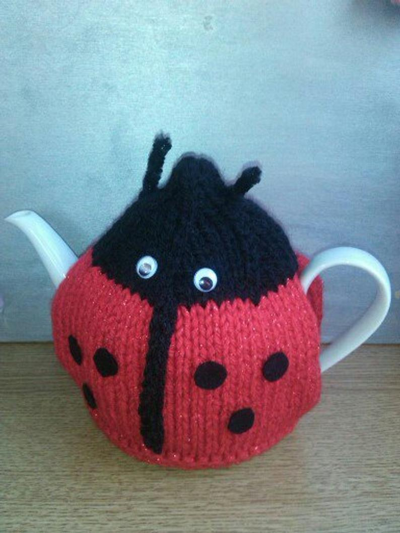 Patterns For Knitted Tea Cosies Tea Cosy Knitting Pattern Ladybird Tea Cosy Knitting Pattern Mug Cosy Egg Cosy Double Knitting Pattern Hand Knitting Pattern Cosy