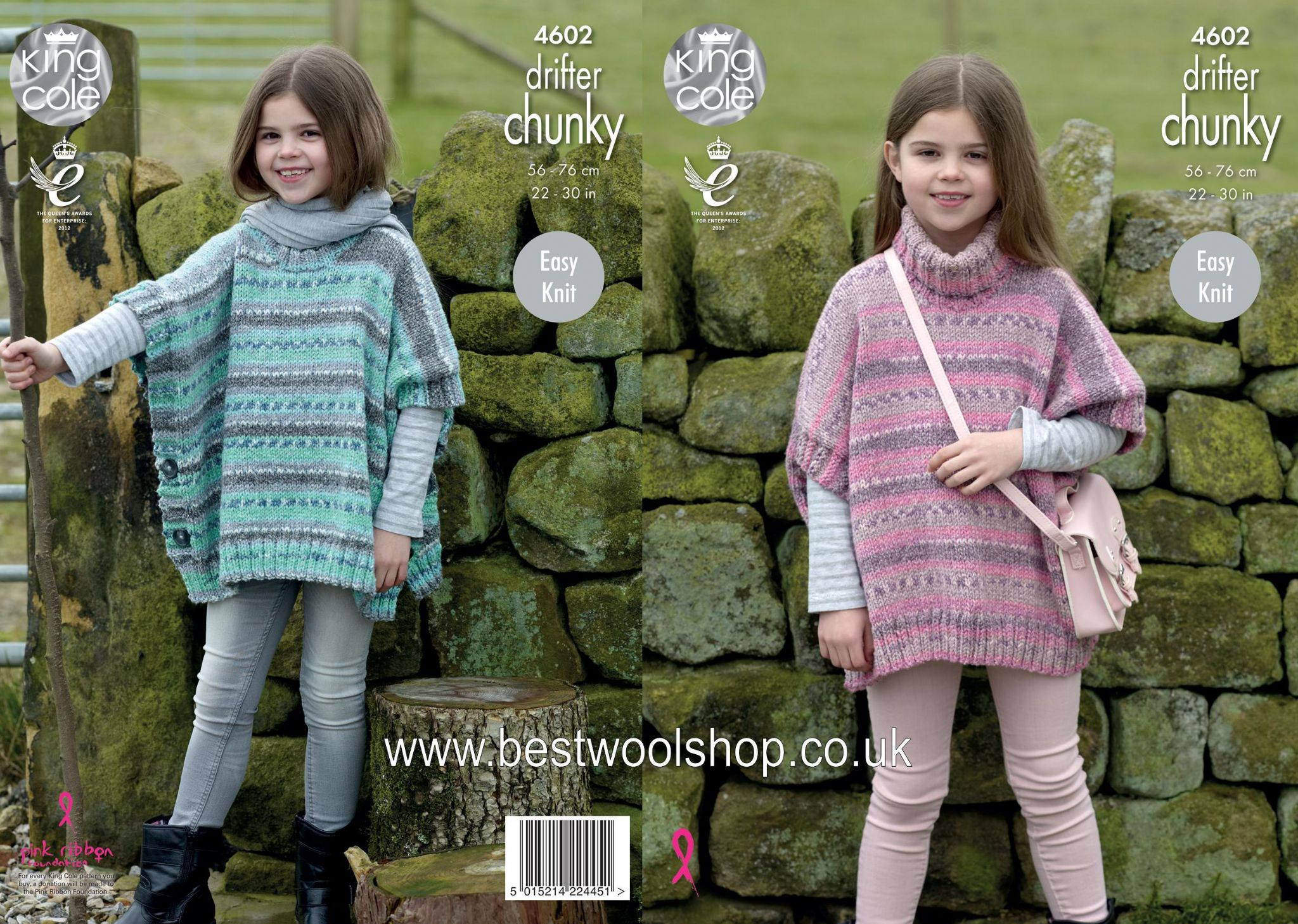 Poncho Knitting Pattern Chunky 4602 King Cole Drifter Chunky Easy Knit Polo Round Neck Poncho Knitting Pattern To Fit Age 2 To 12 Years