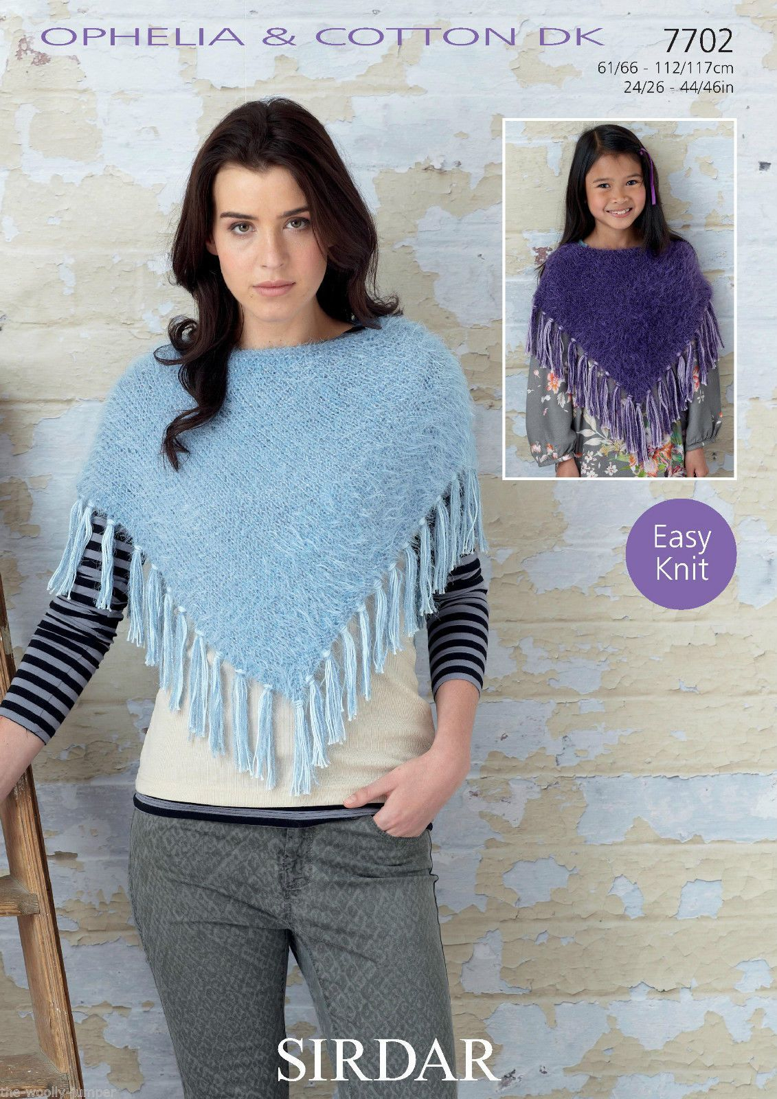 Poncho Knitting Pattern Chunky 7702 Sirdar Ophelia Chunky Poncho Knitting Pattern To Fit Chest Size 24 To 46