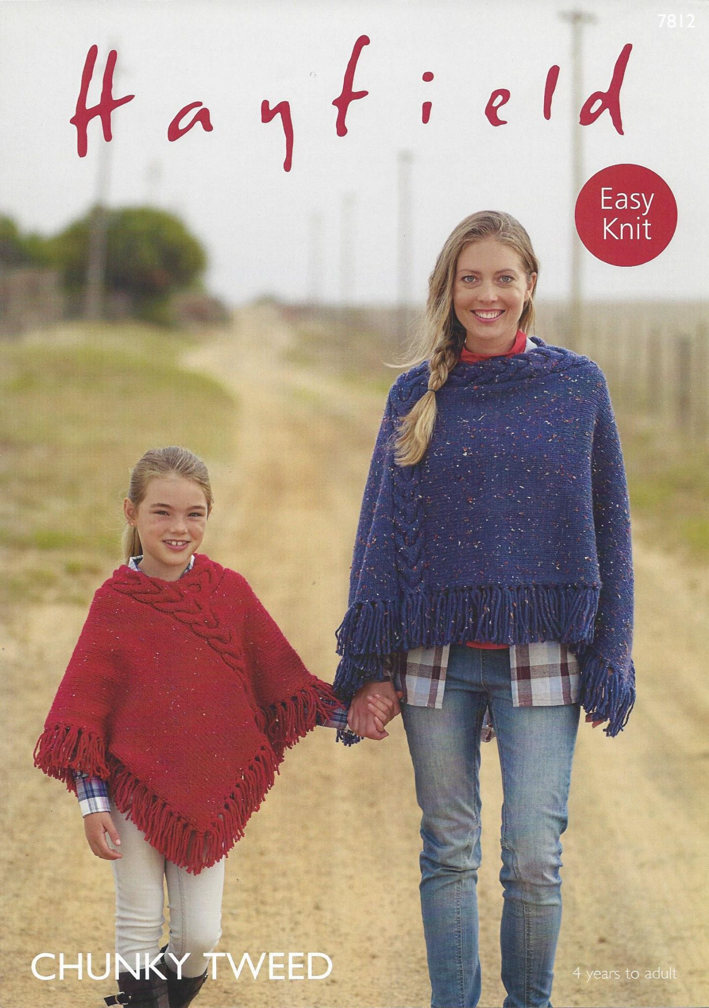 Poncho Knitting Pattern Chunky 7812 Hayfield Chunky Tweed Easy Knit Poncho Knitting Pattern 4 Yrs To Adult