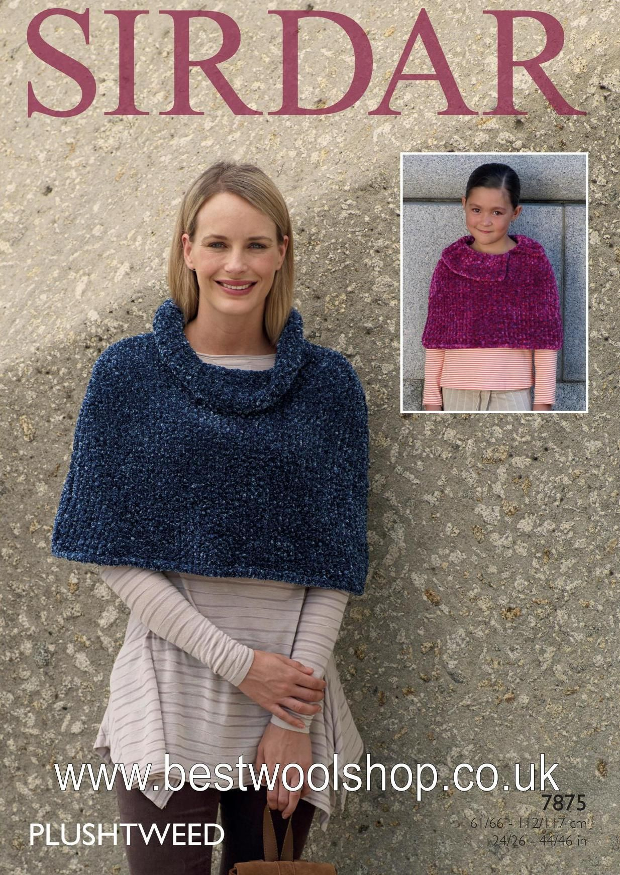 Poncho Knitting Pattern Chunky 7875 Sirdar Plushtweed Super Chunky Poncho Cape With Cowl Neck Or Collar Knitting Pattern To Fit Chest 24 To 46