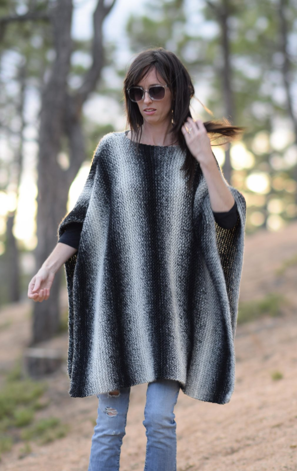Poncho Knitting Pattern Chunky Aspen Relaxed Knit Poncho Pattern Mama In A Stitch