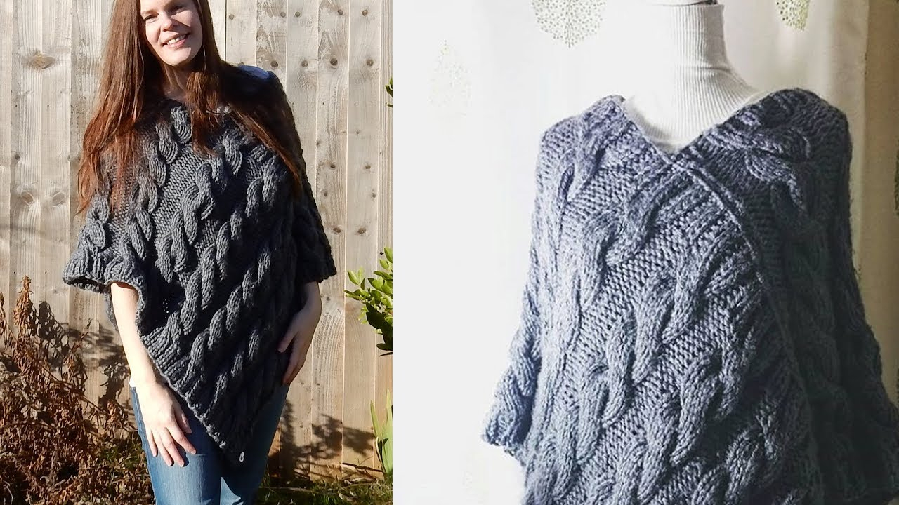 Poncho Knitting Pattern Chunky Cable Poncho Knitting Tutorial Beginner