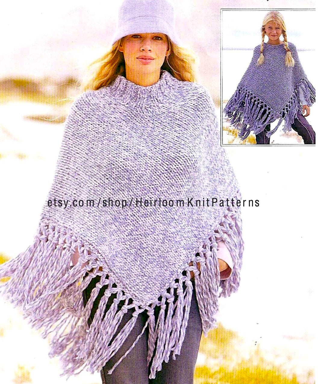 Poncho Knitting Pattern Chunky Chunky Poncho Knitting Pattern Girls Womens Poncho Pattern 7 Years To Adult Instant Download Pdf Pattern 2103