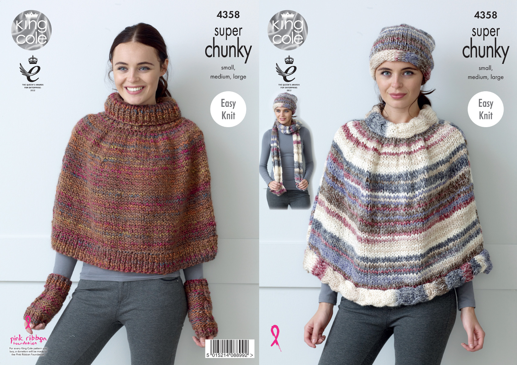 Poncho Knitting Pattern Chunky Details About King Cole Ladies Super Chunky Knitting Pattern Cape Hat Scarf Wrist Warmers 4358