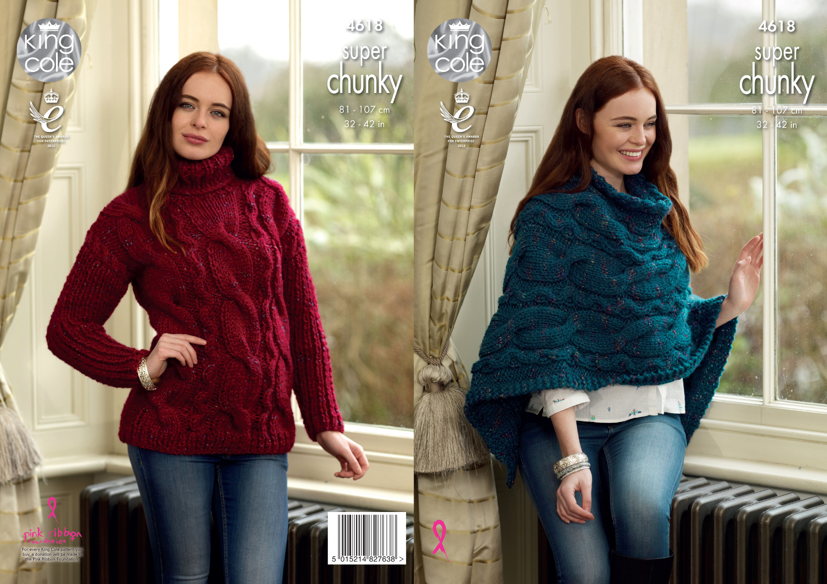 Poncho Knitting Pattern Chunky Details About King Cole Ladies Super Chunky Knitting Pattern Poncho Polo Neck Jumper 4618