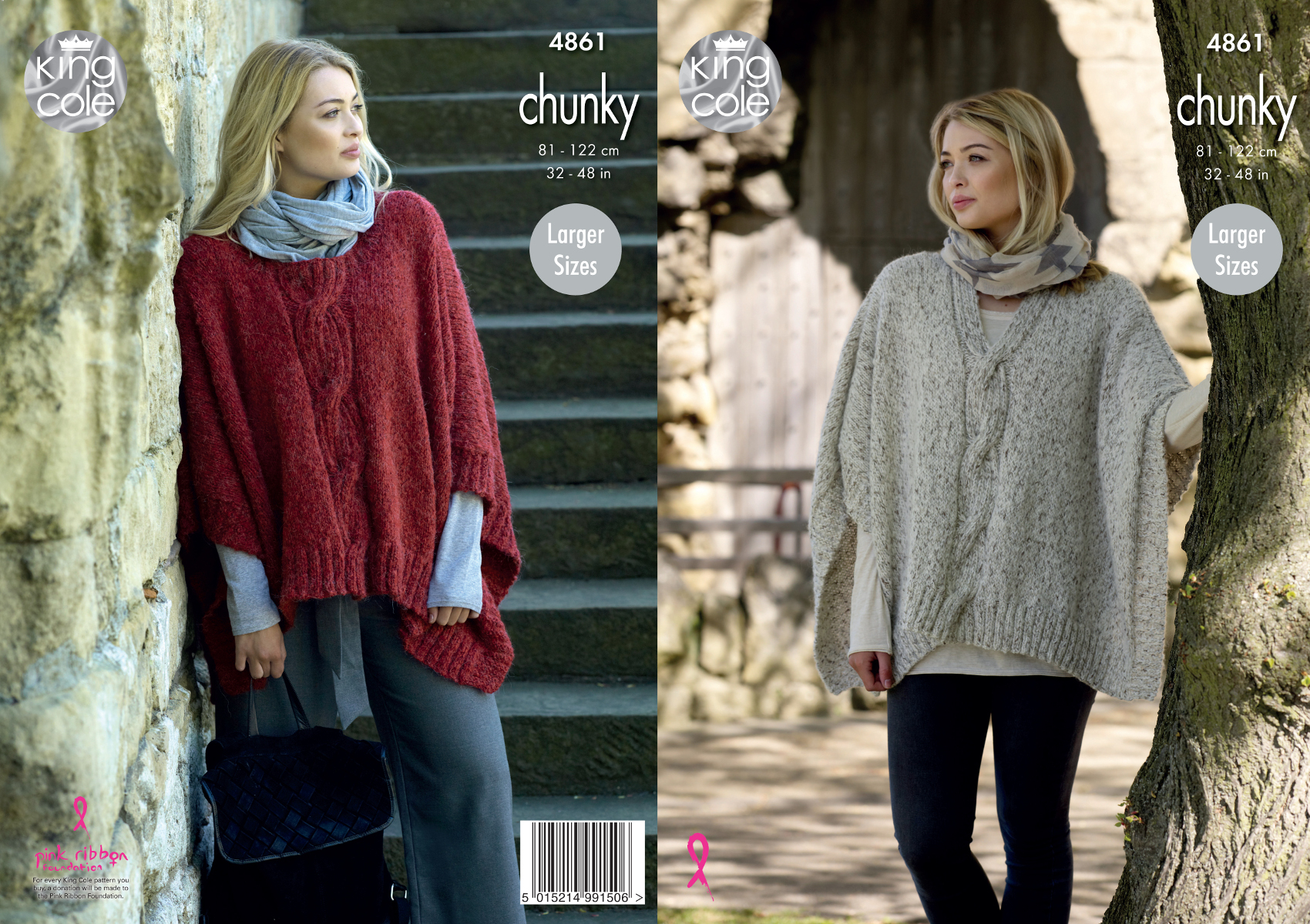 Poncho Knitting Pattern Chunky Details About Womens Round Or V Neck Cabled Poncho Cape Chunky Knitting Pattern King Cole 4861