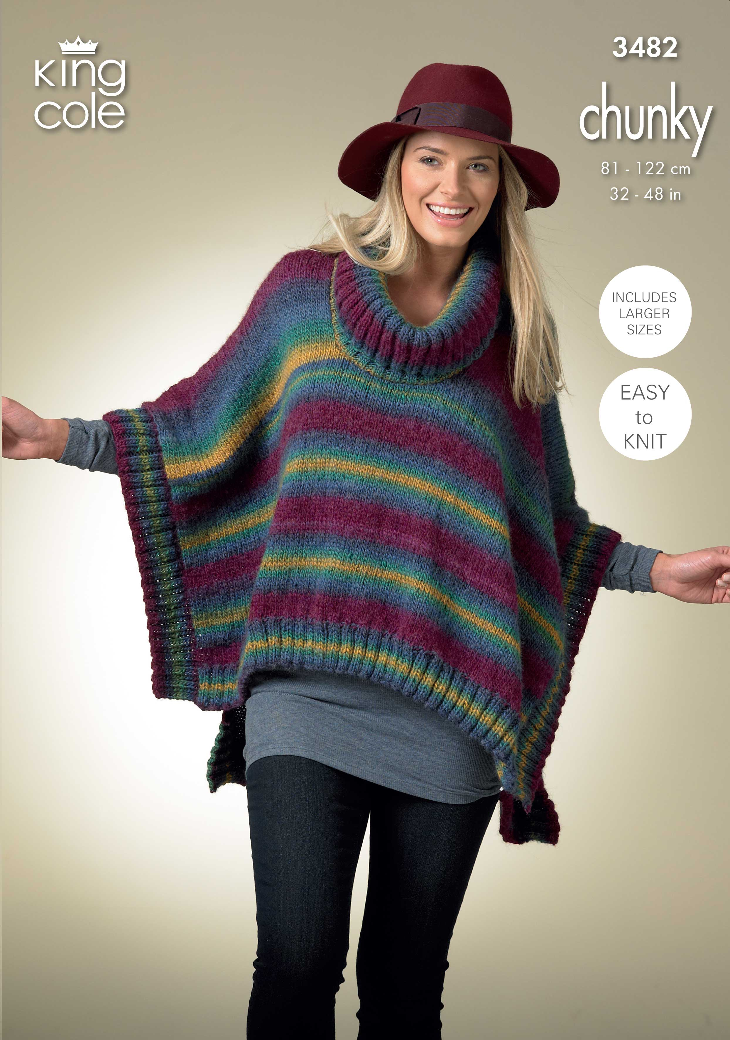 Poncho Knitting Pattern Chunky Easy To Follow Womans Square Poncho And Pointed Poncho Knitted In