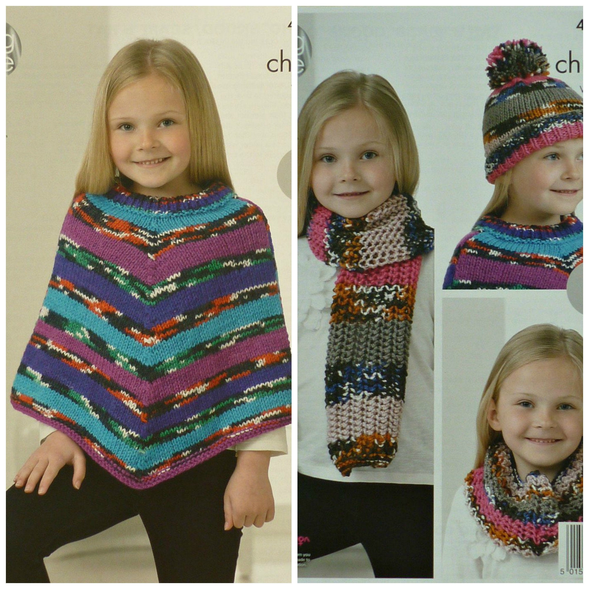 Poncho Knitting Pattern Chunky Girls Knitting Pattern K4242 Childrens Easy Knit Poncho Scarf Cowl