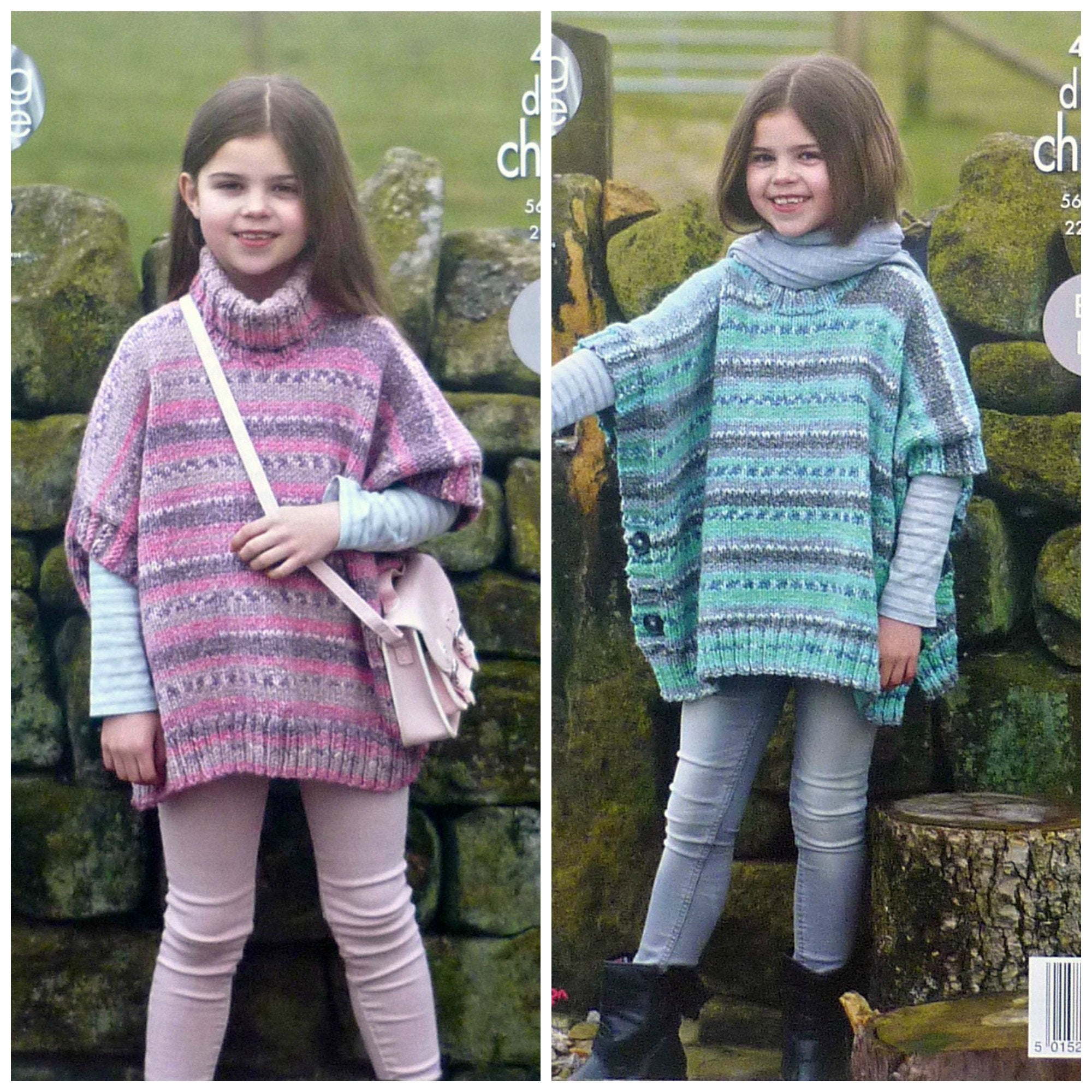 Poncho Knitting Pattern Chunky Girls Knitting Pattern K4602 Girls Easy Knit Polo Or Round Neck