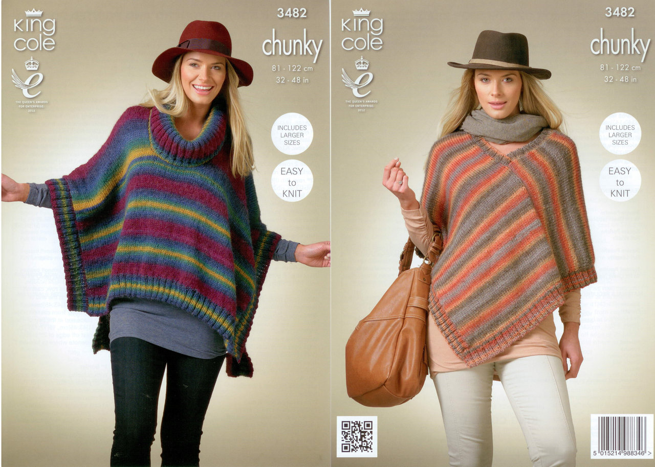 Poncho Knitting Pattern Chunky King Cole 3482 Knitting Pattern Ladies Ponchos