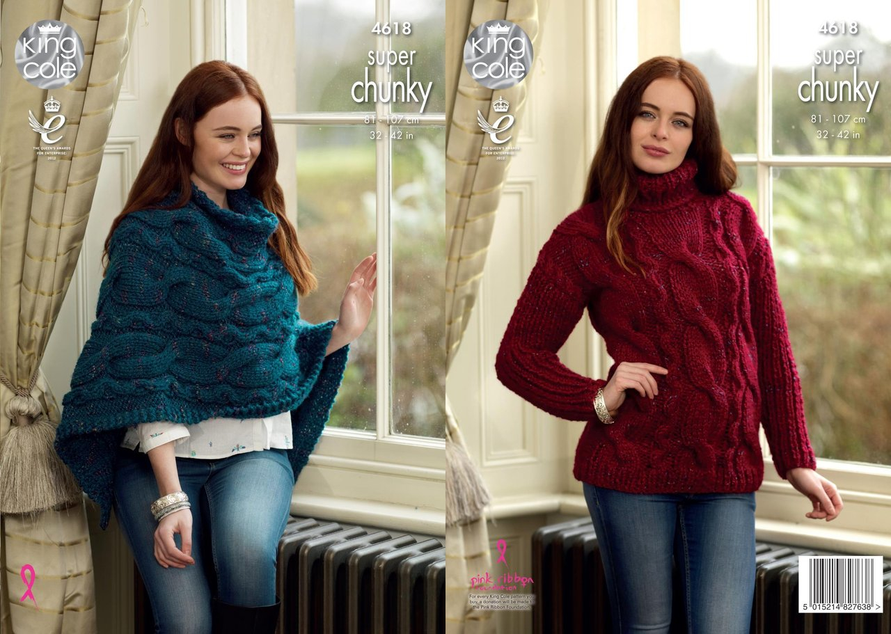 Poncho Knitting Pattern Chunky King Cole 4618 Knitting Pattern Womens Sweater And Poncho King Cole Big Value Super Chunky Twist