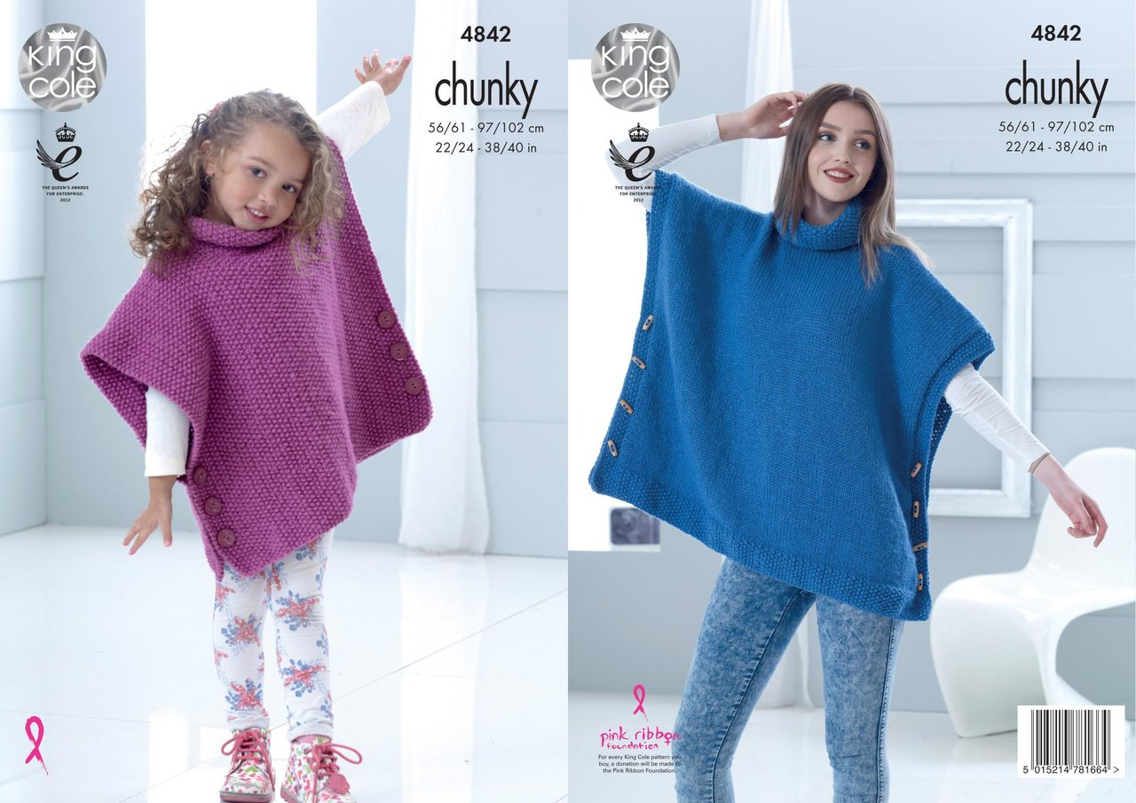 Poncho Knitting Pattern Chunky King Cole 4842 Knitting Pattern Childs Adult Poncho In Big Value Chunky