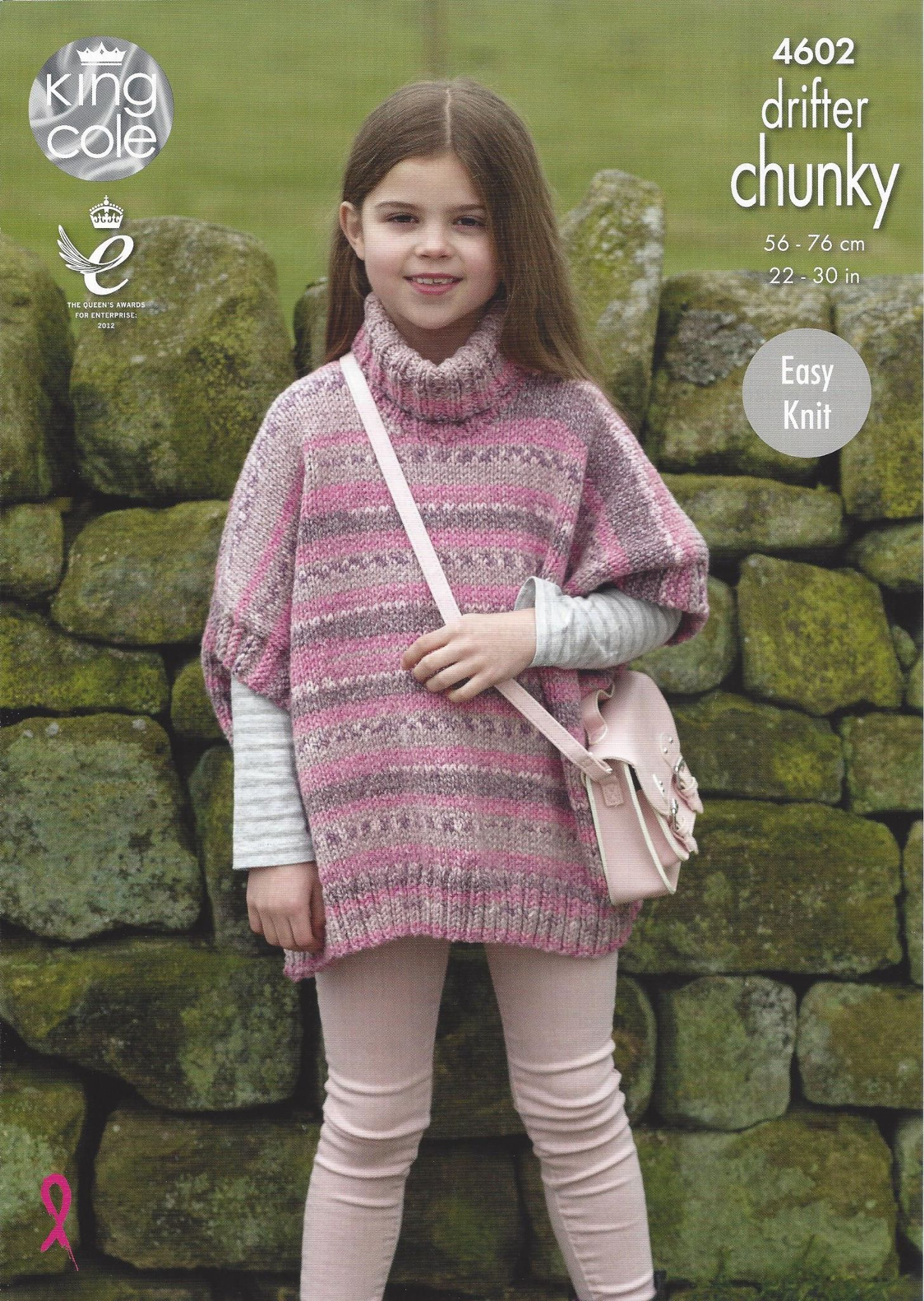 Poncho Knitting Pattern Chunky King Cole Drifter Chunky 4602 Poncho Knitting Pattern