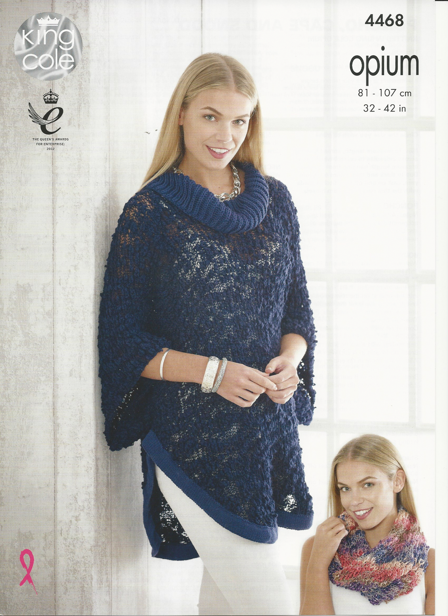 Poncho Knitting Pattern Chunky King Cole Ladies Poncho Cape And Snood Knitting Pattern In Opium Palette Chunky 4468