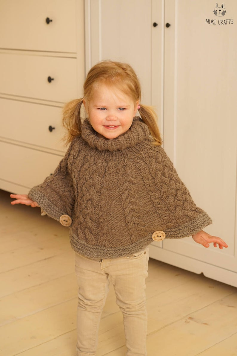 Poncho Knitting Pattern Chunky Knitting Pattern Chunky Cable Cape Poncho Verona Toddler Kids Sizes