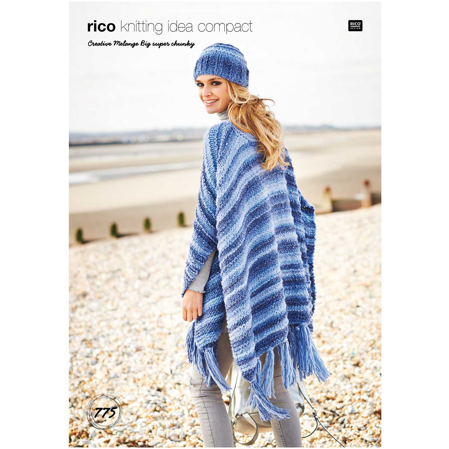 Poncho Knitting Pattern Chunky Rico Ladies Ponchos Hat Knitting Pattern In Creative Melange Big Super Chunky 775