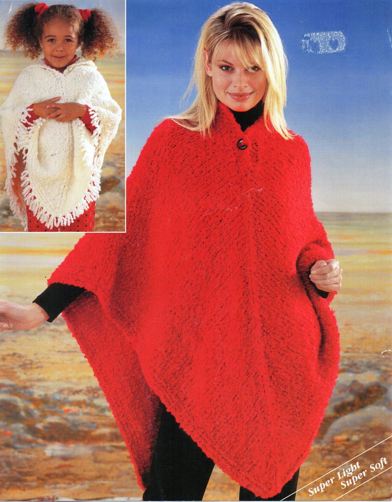 Poncho Knitting Pattern Chunky Womens Poncho Knitting Pattern Pdf Girls Poncho Poncho With Hood 24 42 Inch Super Chunky Yarn Womens Knitting Pattern Pdf Instant Download