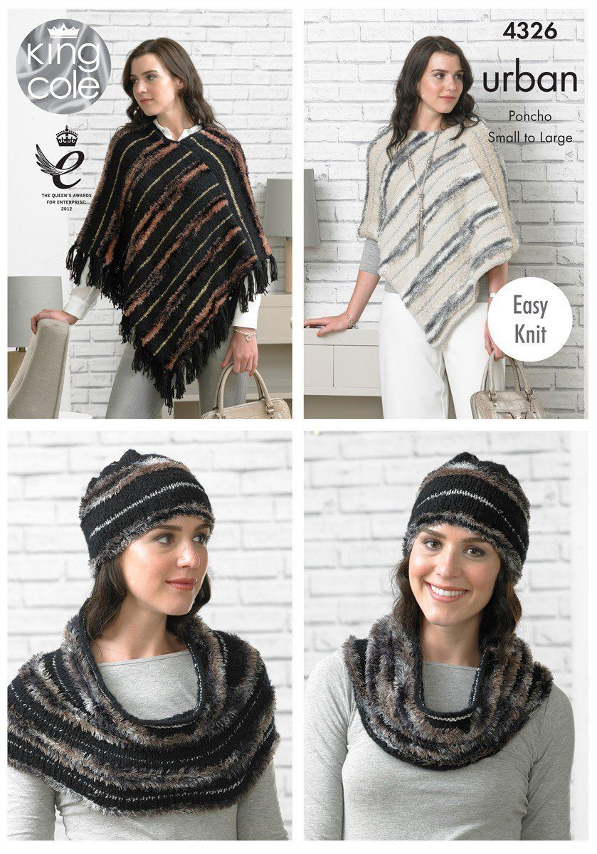Poncho Pattern Knit 4326 King Cole Urban Aran Easy Knit Poncho Hat Snood Knitting Pattern Small To Large