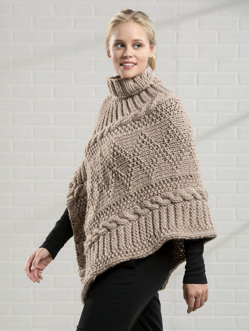 Poncho Pattern Knit Knitting Pattern Poncho Chunky Pattern Knitting Pattern Poncho Womens Poncho Knitting Pattern Loose Knit Poncho Pattern For Chunky Poncho