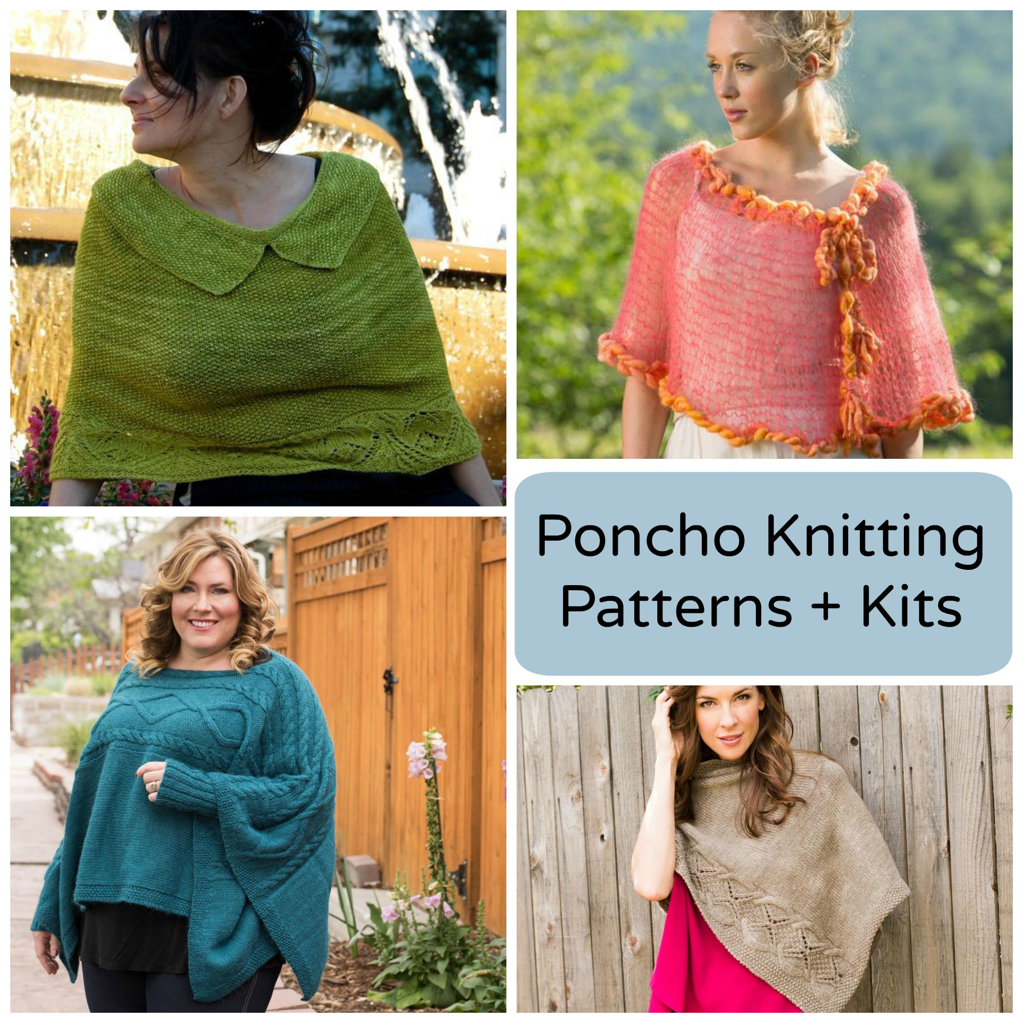 Poncho Pattern Knit Modern Stylish Poncho Knitting Patterns Kits