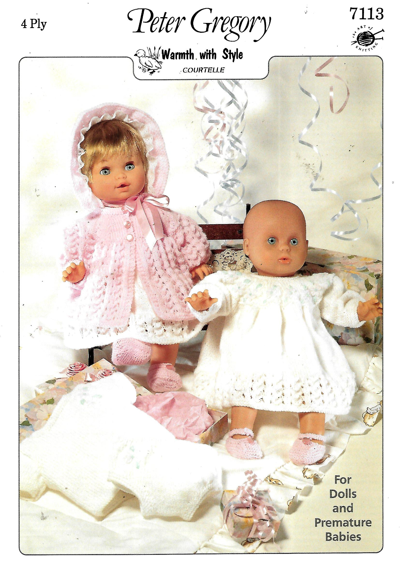 Premature Baby Knitting Patterns Peter Gregory 7113 Dollpremature Ba Knitting Pattern