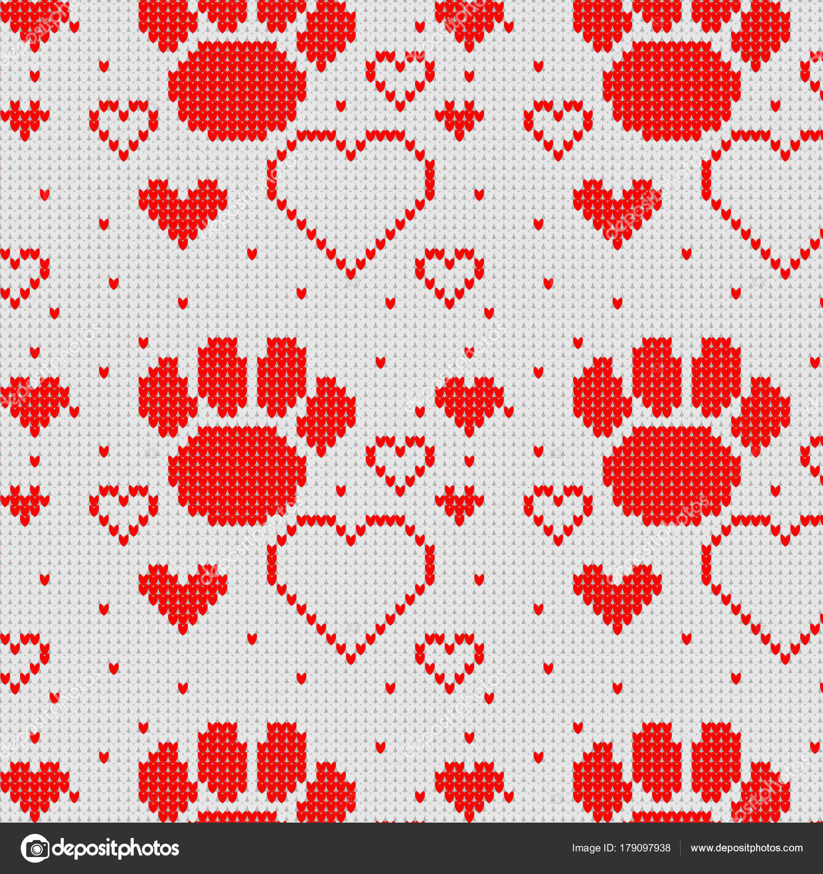 Seamless Knitting Patterns Seamless Knitted Pattern With Heart And Dog Paw Background Stock