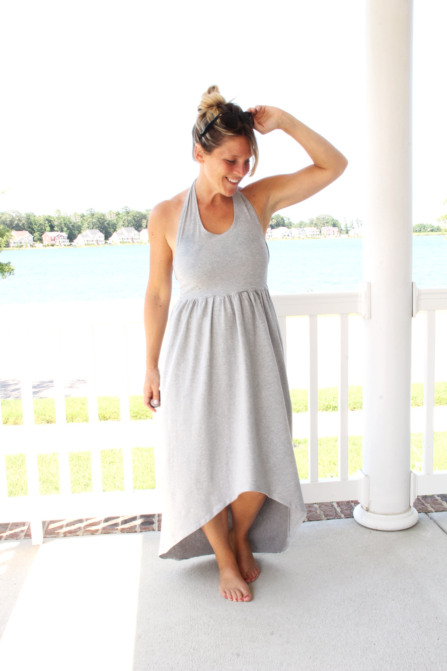 Simple Knit Dress Pattern Cross Back Maxi The Sewing Rabbit