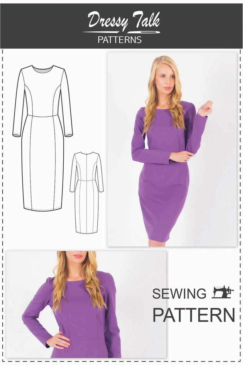 Simple Knit Dress Pattern Long Sleeve Dress Pattern Formal Dress Patterns Simple Dress Pattern Sewing Tutorial Knit Dress Pattern Dress Sewing Patterns