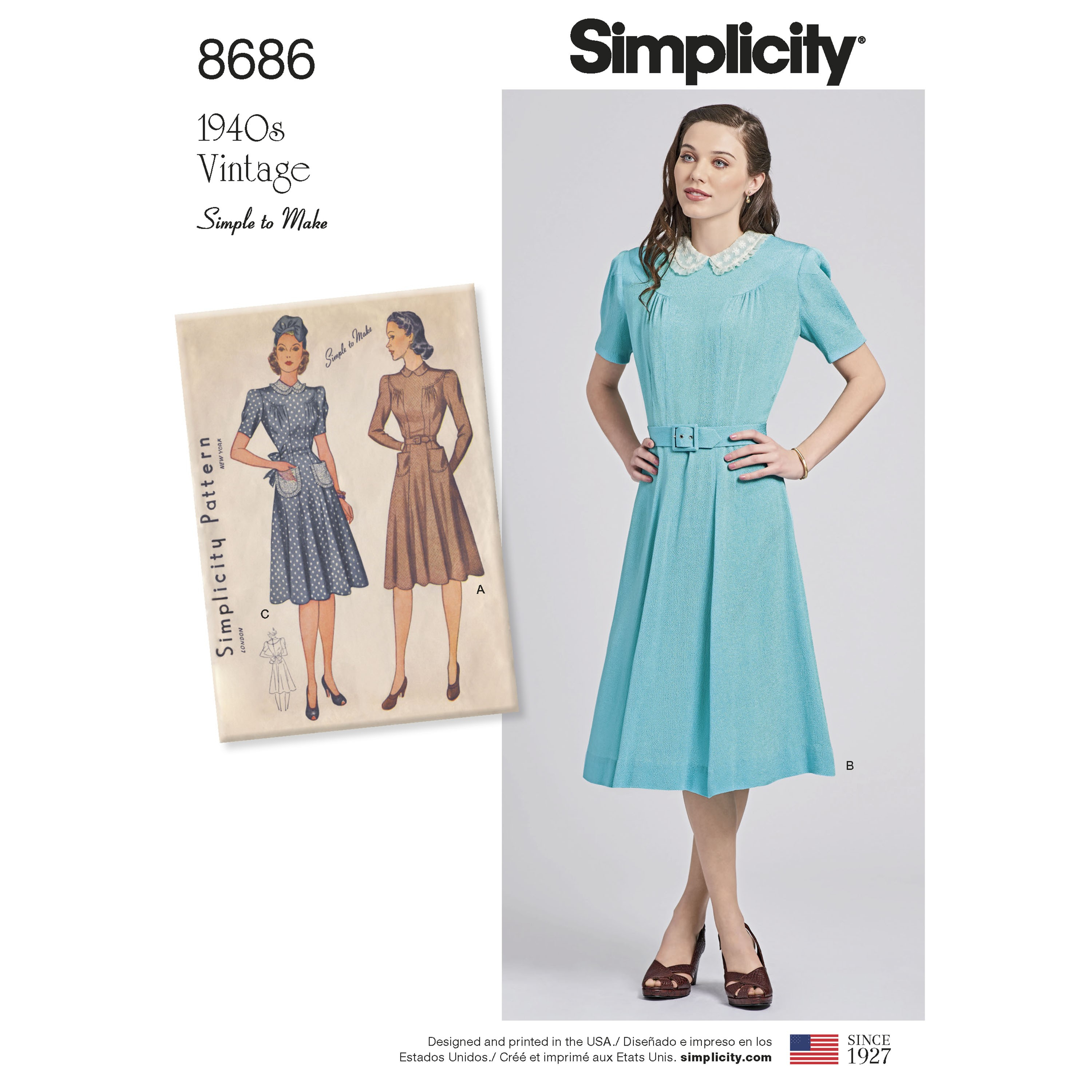Simple Knit Dress Pattern Simplicity Sewing Pattern 8686 Womens Vintage 1940s Dress Simple T