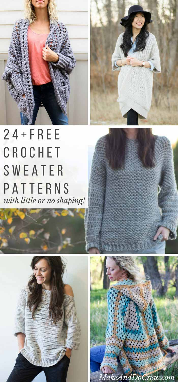 Simple Knit Sweater Pattern Free 24 Super Easy Free Crochet Sweater Patterns Make Do Crew