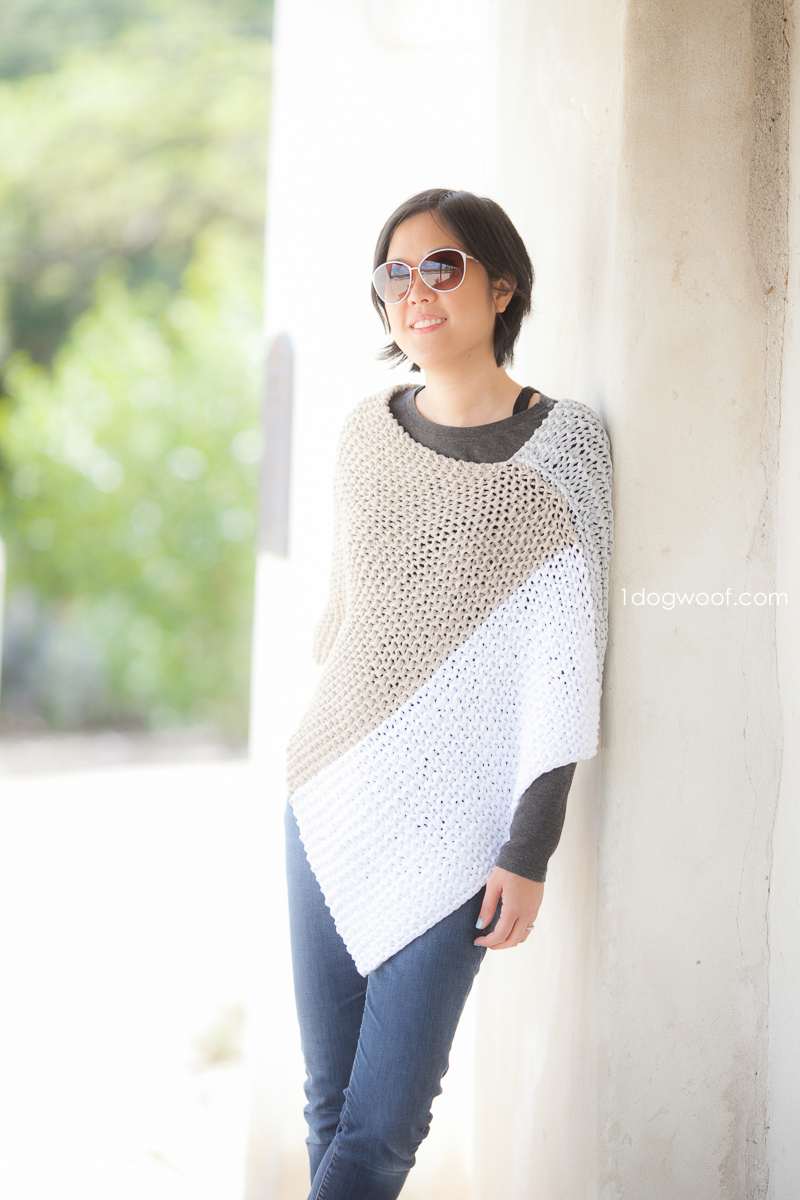 Simple Knit Sweater Pattern Free Easy Knit Catalunya Colorblock Poncho One Dog Woof