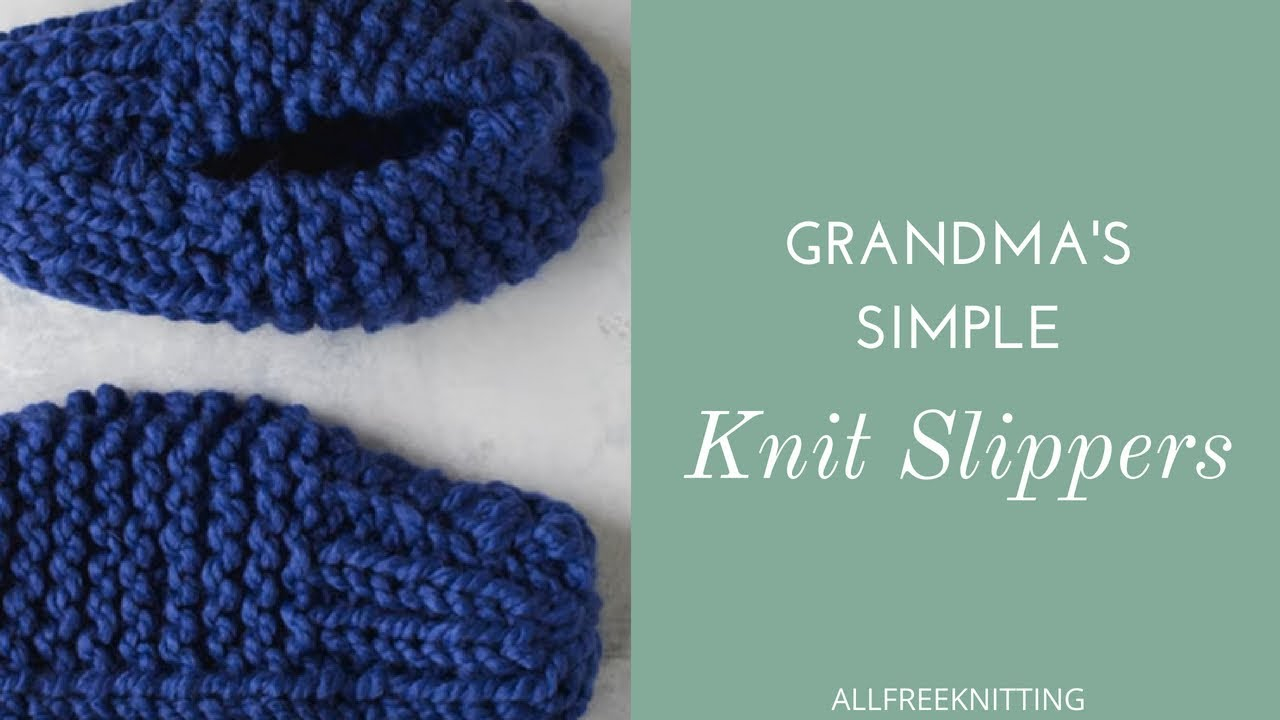 Simple Knit Sweater Pattern Free Grandmas Simple Knit Slippers Free Pattern Allfreeknitting