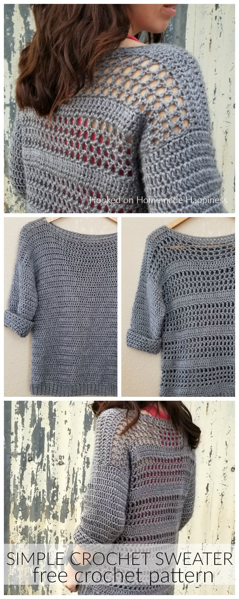 Simple Knit Sweater Pattern Free Simple Crochet Sweater Pattern Hooked On Homemade Happiness
