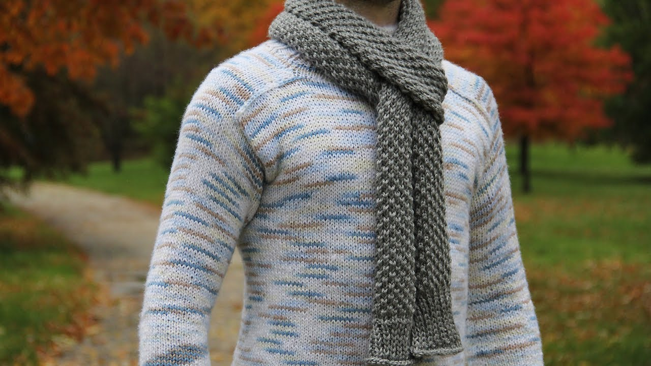Simple Scarf Knitting Patterns For Beginners How To Knit Mens Scarf Video Tutorial With Detailed Instructions