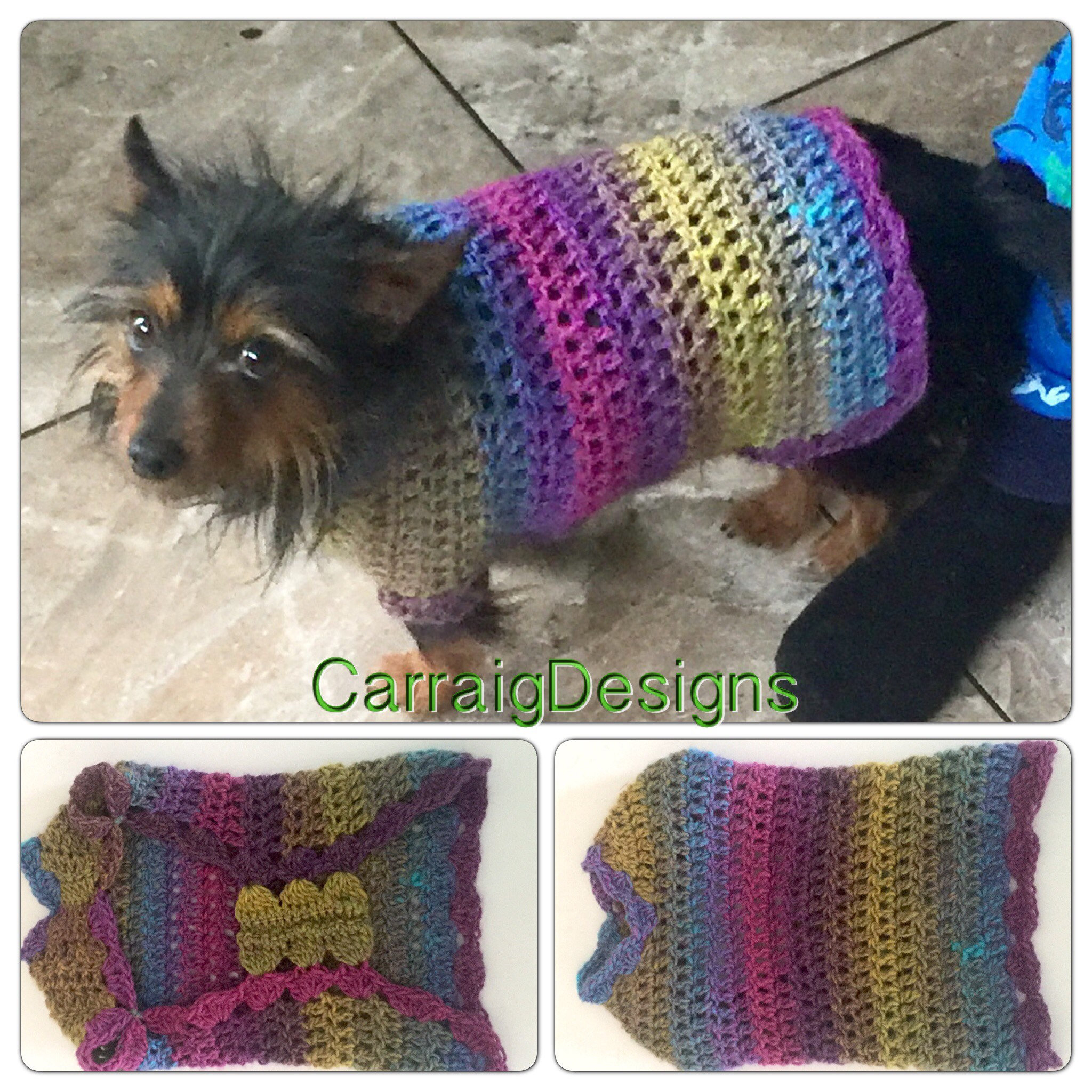 Small Dog Coat Knitting Pattern Free Small Dog Hippy Coat Sweater Costume Dress Up Unique Designer Hand Crochet Knit Hippie Boho Rainbow Gift Accessories Puppy Clothes Matching