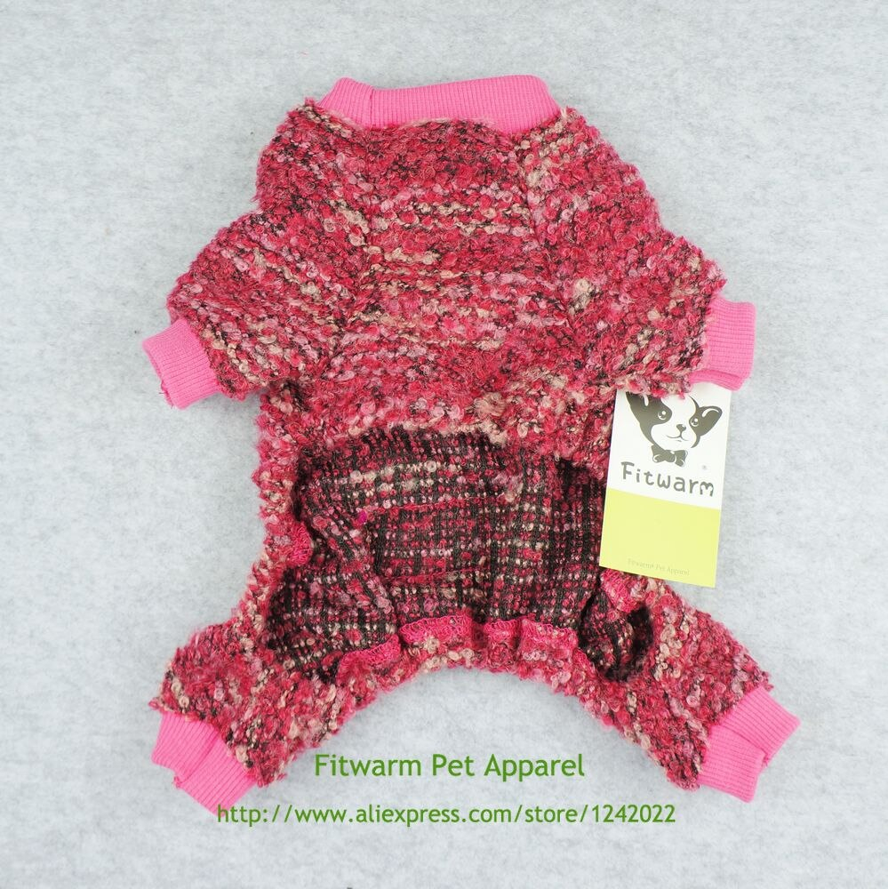Small Dog Coat Knitting Pattern Free Us 1399 Fitwarm Woolen Knitted Dog Clothes Pajamas Pet Coats Pjs Jumpsuits Pink Free Shipping Xs Small Medium Large Chihuahua Yorkie In Dog Coats