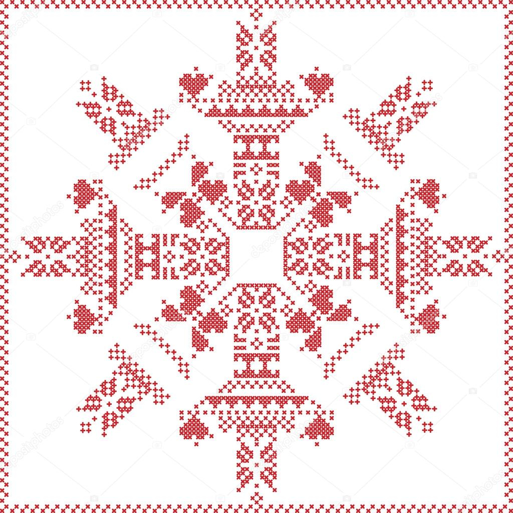 Snowflake Pattern Knitting Scandinavian Nordic Winter Stitch Knitting Christmas Pattern In In