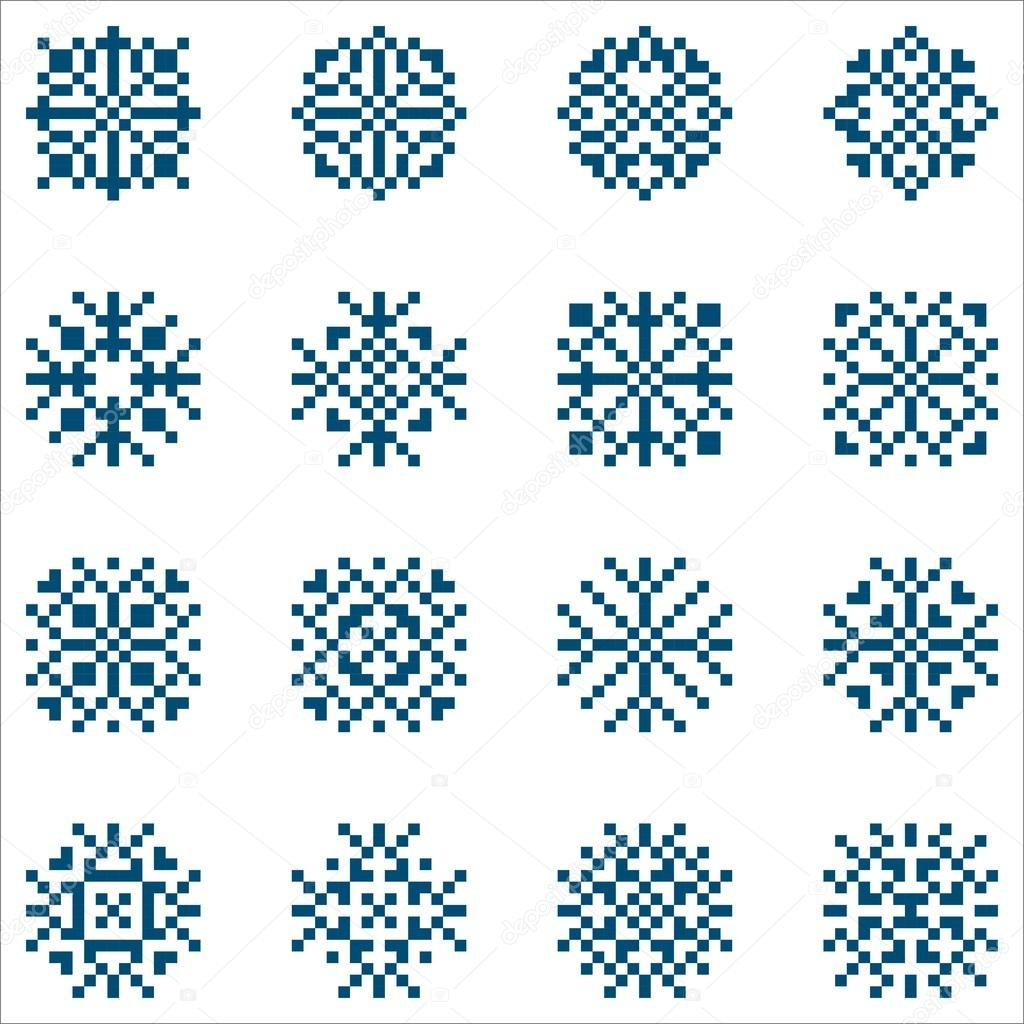 Snowflake Pattern Knitting Vector Set Of Pixel Snowflakes For Patterns Knitting And Embroidery
