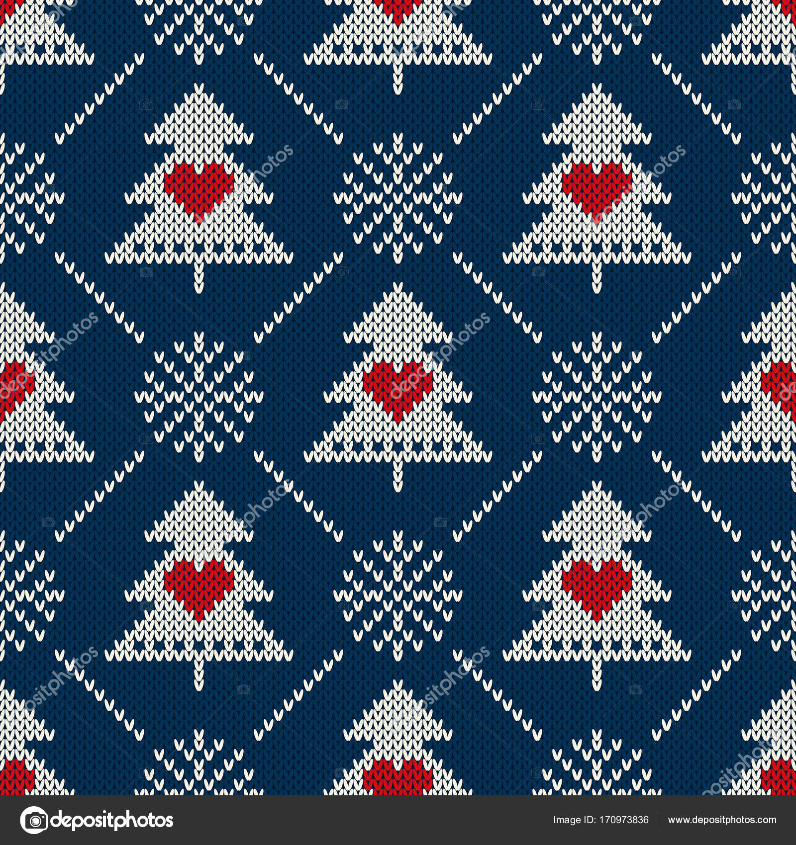 Snowflake Pattern Knitting Winter Holiday Seamless Knitted Pattern With A Christmas Symbols