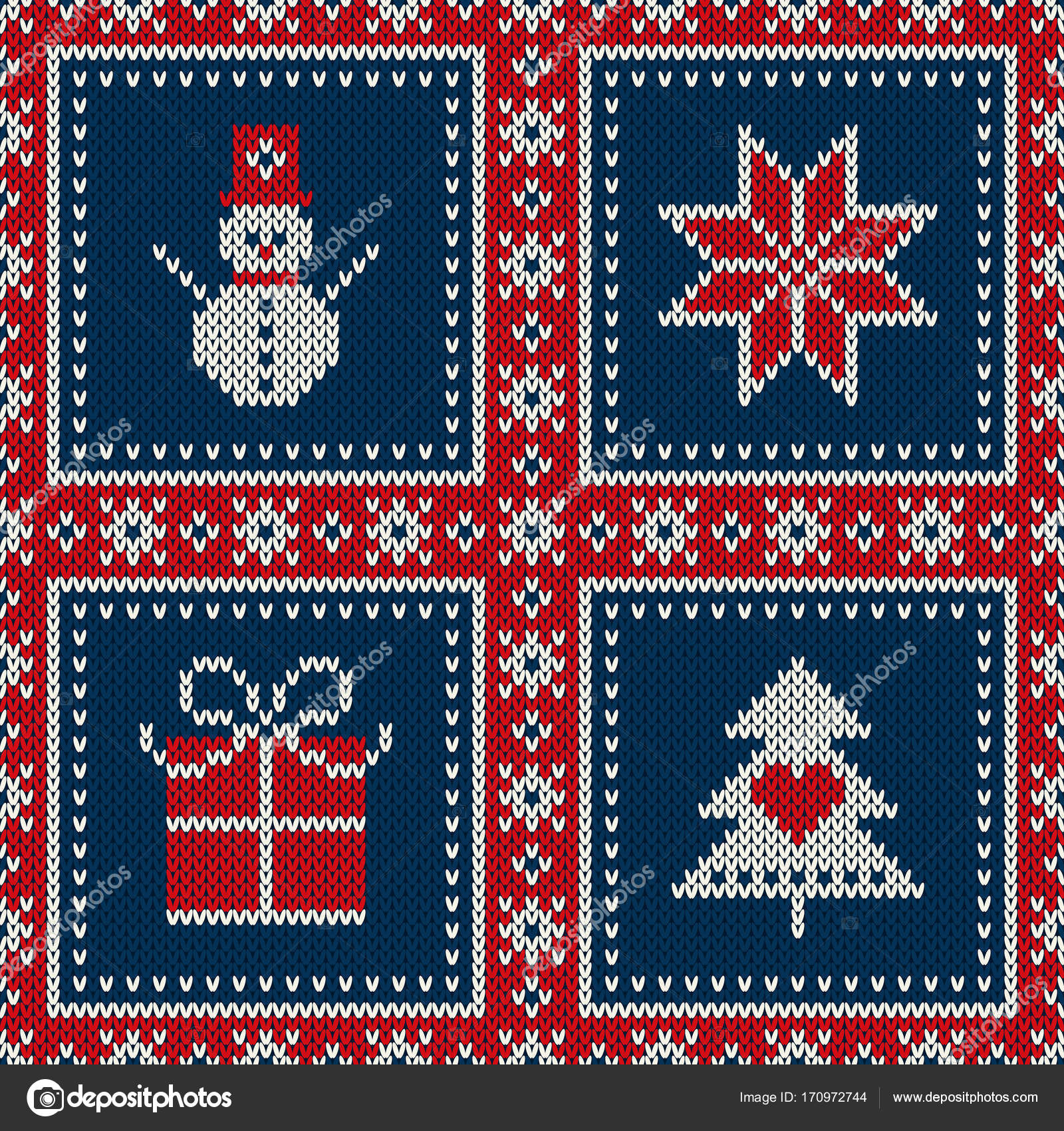 Snowflake Pattern Knitting Winter Holiday Seamless Knitted Pattern With A Snowman Snowflake