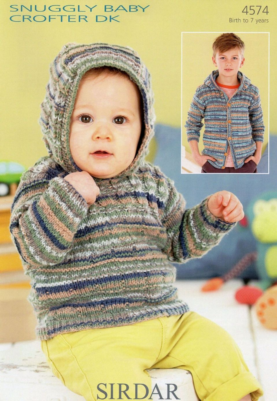 Sweater Jacket Knitting Pattern 4574 Sirdar Snuggly Ba Crofter Dk Sweater Jacket Knitting Pattern To Fit 0 To 7 Years