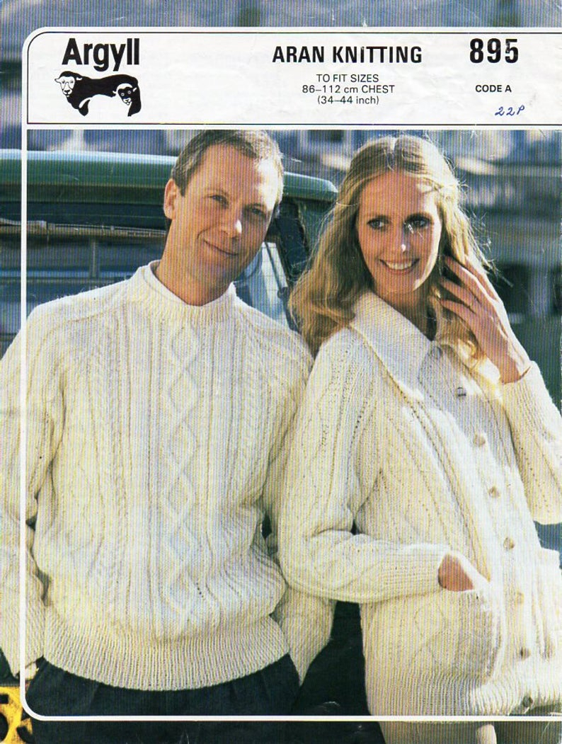 Sweater Jacket Knitting Pattern Womens Mens Aran Sweater Jacket Knitting Pattern Pdf Ladies Cable Cardigan With Collar Jumper 34 44aran Worsted 10ply Instant Download