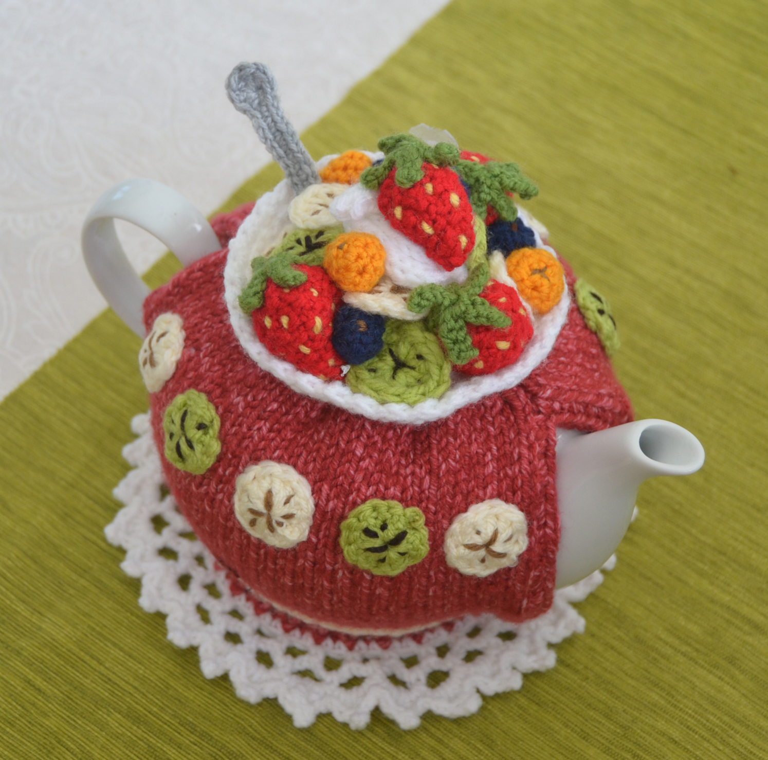 Tea Cosy Knitting Patterns Easy Fruit Salad Tea Cozy Pattern